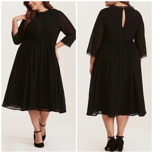 Torrid Textured Chiffon Lace Inset Midi Dress